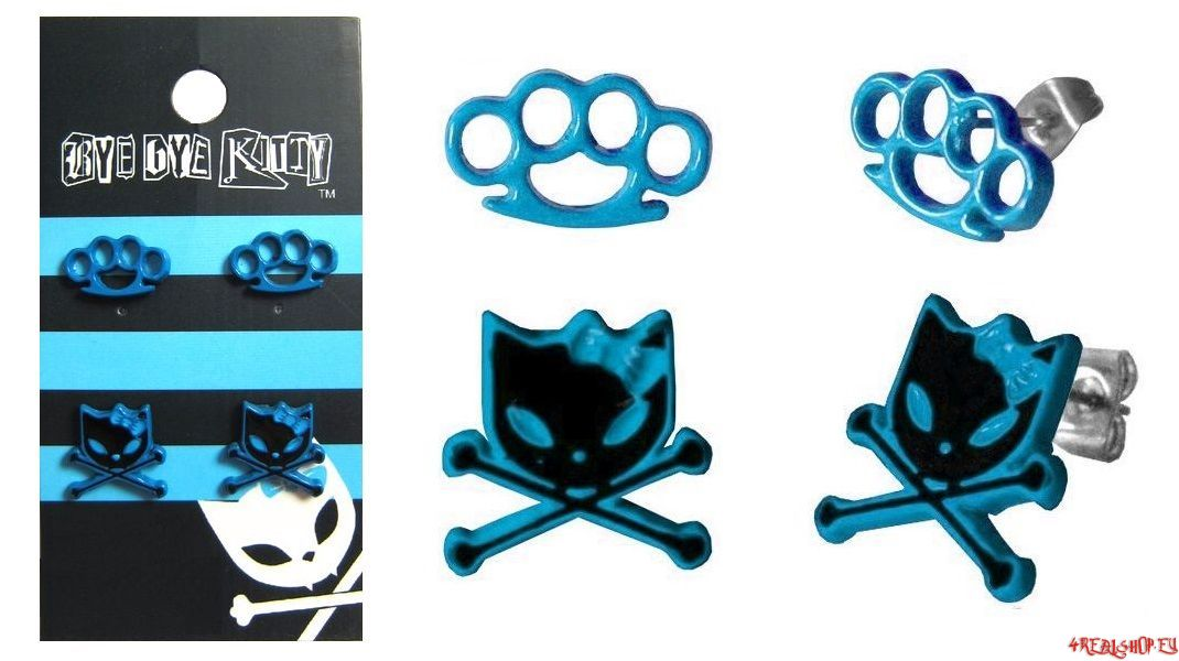 Náušnice Kitty & Knuckle Duster modré