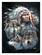 Fleecová deka Indian & Wolves